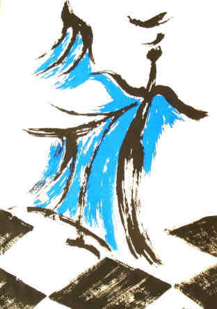 Blue Dancer Chess Serigraph numbered and signed by the artist Elke Rehder