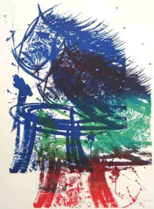 Chess - Knight takes Rook - Serigraph in variation blue, green, red by Elke Rehder