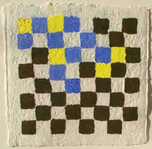 Chessboard handmade paper art object with colour pigments by Elke Rehder