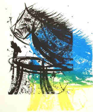 Chess - Knight takes Rook - Serigraph in variation blue, black, yellow by Elke Rehder