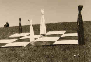 Chess Land Art Installation by Elke Rehder on top of the dyke