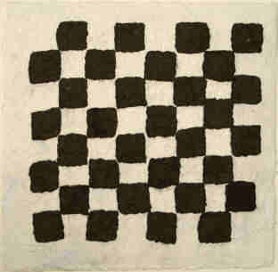 Chessboard - handmade paper pulp mixed with charcoal pigments by Elke Rehder