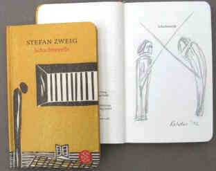 Zweig The Royal Game, German edition with pencil drawing by ther artist Elke Rehder