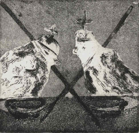 Chess - Draw - Remis aquatint etching by the artist Elke Rehder