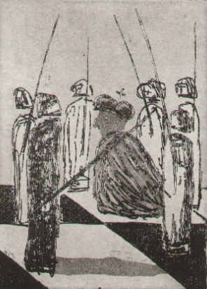Chess pawns threaten the king - etching by the artist Elke Rehder