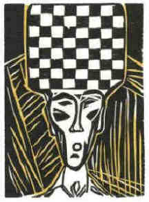 Stefan Zweig Chess The Royal Game woodcut 3 by Elke Rehder