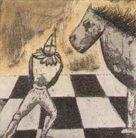 chess etching Under guidance of the knight by Elke Rehder