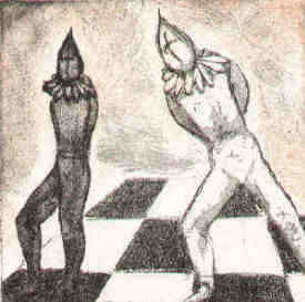 Chess etching The crucial step by Elke Rehder