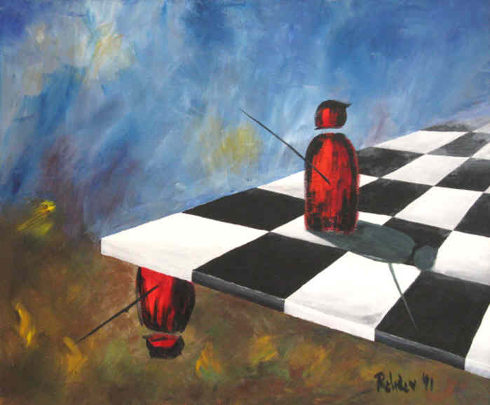 Chess Irrational Position - oil on canvas painting signed by the artist Elke Rehder to the game of chess