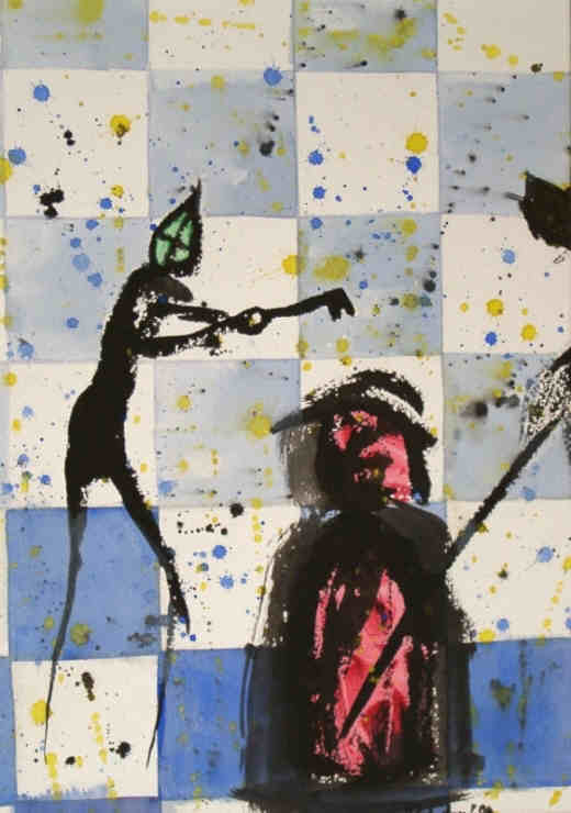 Chess Key Position - painting in mixed media on paper signed by the artist Elke Rehder to the game of chess