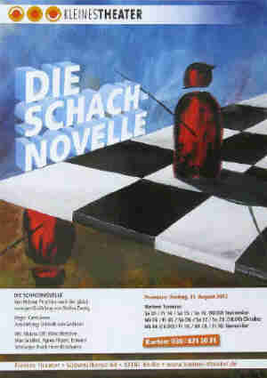 Schachnovelle by Helmut Peschina after the chess story The Royal Game by Stefan Zweig. Kleines Theater Berlin 2012. Chess painting by the artist Elke Rehder.