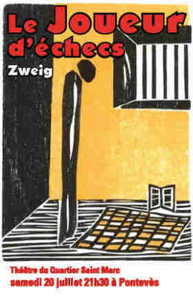 Stefan Zweig Chess Story poster of the theatre performance in Belgium and France showing a woodcut by the German artist Elke Rehder