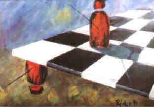 chess irrational position art postcard by the artist Elke Rehder aften a painting