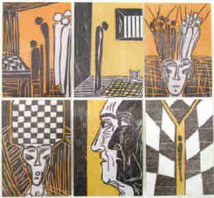 Stefan Zweig chess story The Royal Game 6 Postcards after woodcuts by Elke rehder