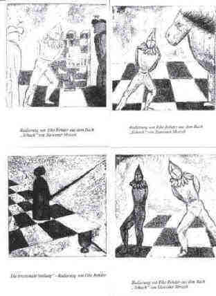 chess art postcards after black and white etchings by the artist Elke Rehder
