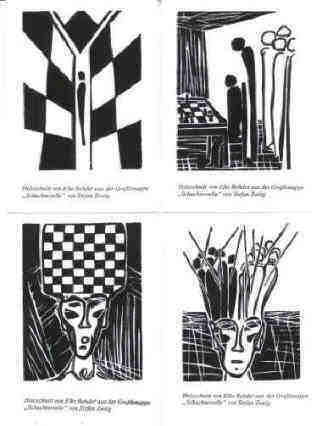 Stefan Zweig Royal Game chess story postcards after woodcuts black white Elke Rehder