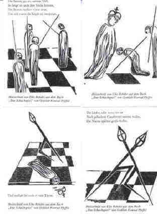 chess postcards black white after woodcuts by the artist Elke Rehder