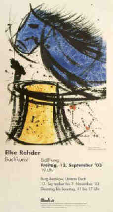poster of the art exhibition with artists books and book art by Elke Rehder in Burg Beeskow