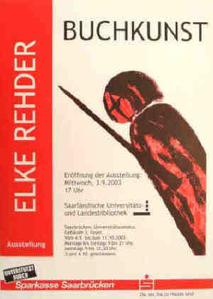 poster of book art and artists books exhibition University Saarland by Elke Rehder