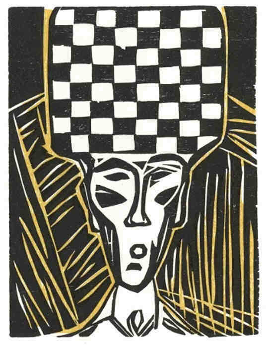 Stefan Zweig chess story The Royal Game, Schachnovelle 3, rare original printmaking, woodcut signed by the artist Elke Rehder.