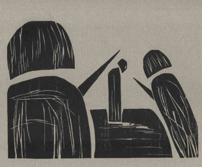 Profiles - woodcut - original printmaking to the game of chess. The rare edition is numbered and signed by the artist Elke Rehder.