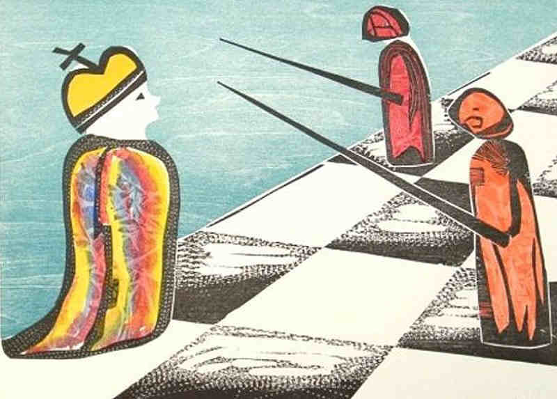 chess pawns in strong position, printmaking woodcut numbered and signed by the artist Elke Rehder